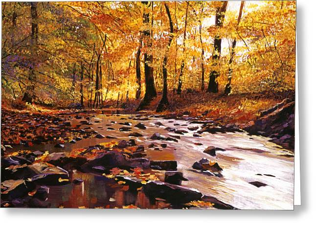 Autumn Landscape Paintings Greeting Cards - River of Gold Greeting Card by David Lloyd Glover