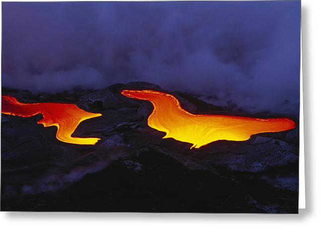 Peter French Greeting Cards - River Of Lava Greeting Card by Peter French - Printscapes