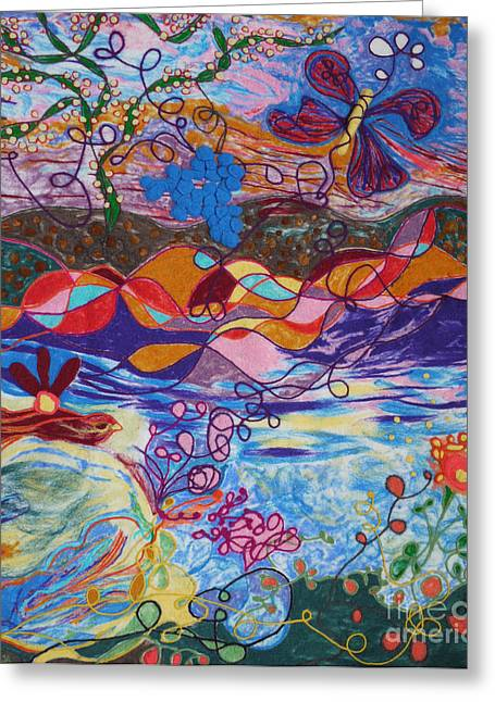 Wool Tapestries - Textiles Greeting Cards - River of Life Greeting Card by Heather Hennick