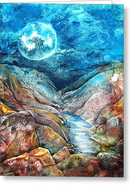 Desert Mixed Media Greeting Cards - River of Souls Greeting Card by Patricia Allingham Carlson