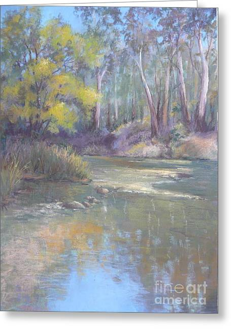 Rapids Pastels Greeting Cards - River Reflection Greeting Card by Pamela Pretty