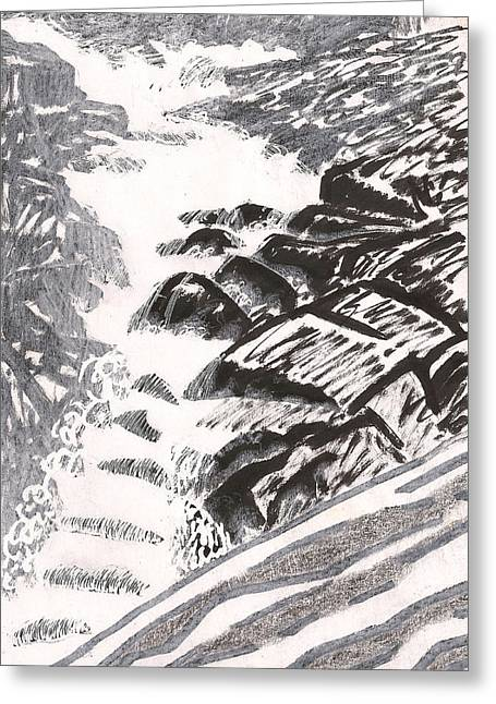 Babbling Greeting Cards - River Road Spring Roar Monterey Ma Greeting Card by Al Goldfarb