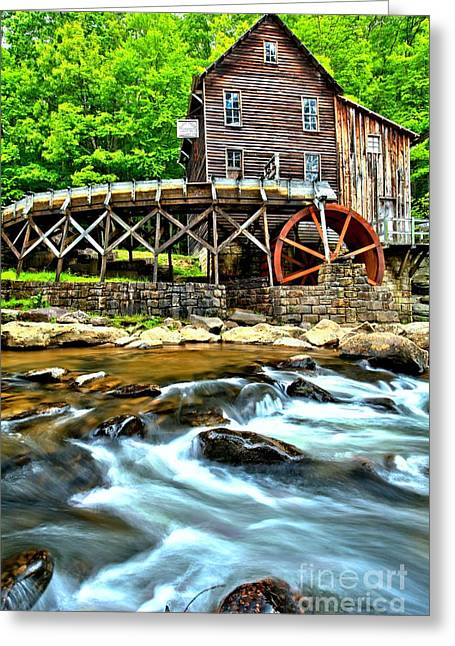 Babcock Greeting Cards - River Rock And A Grist Mill Greeting Card by Adam Jewell