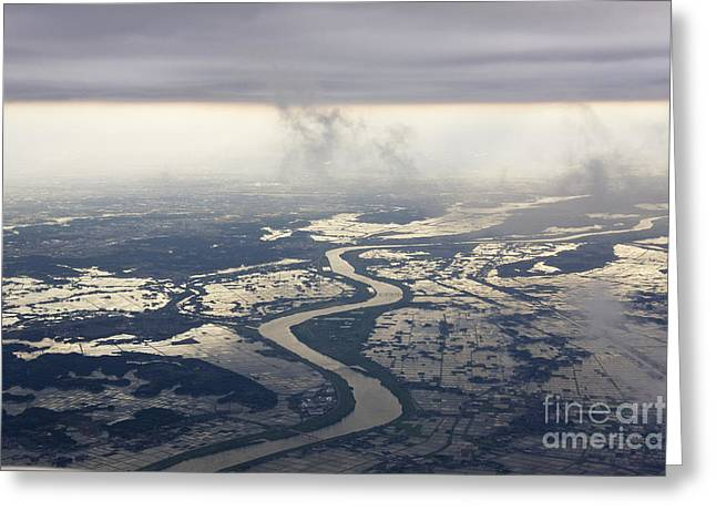 River Flooding Greeting Cards - River Running through a Flooded Countryside Greeting Card by Jeremy Woodhouse