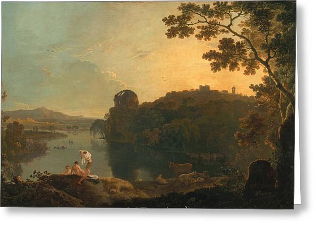 Riverscapes Greeting Cards - River scene- bathers and cattle Greeting Card by Richard Wilson