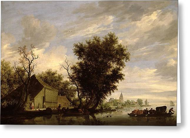 Docked Sailboat Greeting Cards - River Scene with a Ferry Boat Greeting Card by Salomon van Ruysdael