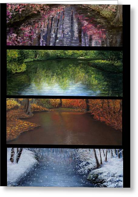 Reflections Pastels Greeting Cards - River Seasons Greeting Card by Susan Jenkins
