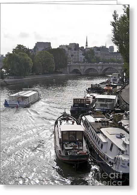 Ile De France Greeting Cards - River Seine. Paris Greeting Card by Bernard Jaubert