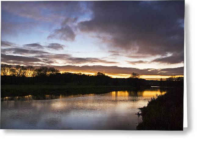 Sudbury River. Greeting Cards - River Stour Sunset Greeting Card by Michael Stretton