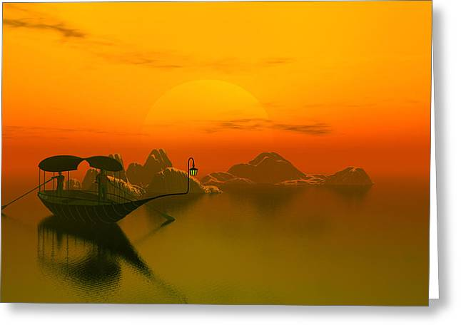 River Sunset Greeting Card by John Junek