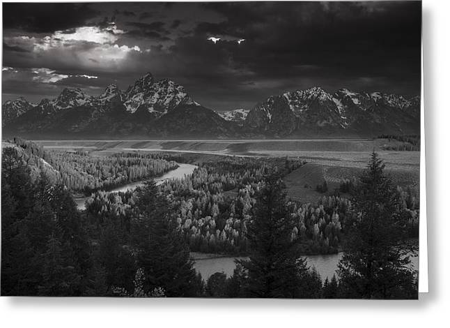 Tetons Greeting Cards - River thru the Mountains Greeting Card by Andrew Soundarajan