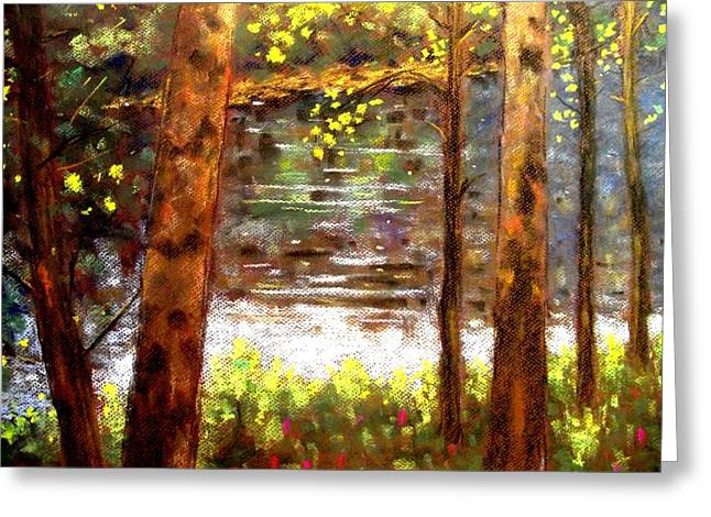 Canvas Pastels Greeting Cards - River Trees Greeting Card by John  Nolan