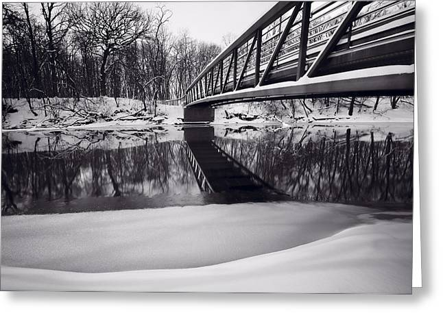 Snow . Bridge Greeting Cards - River View B and W Greeting Card by Steve Gadomski