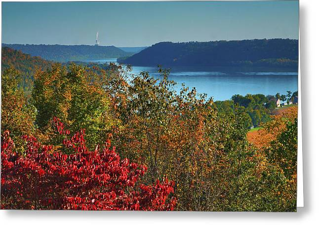 Indiana Autumn Greeting Cards - River View V Greeting Card by Steven Ainsworth