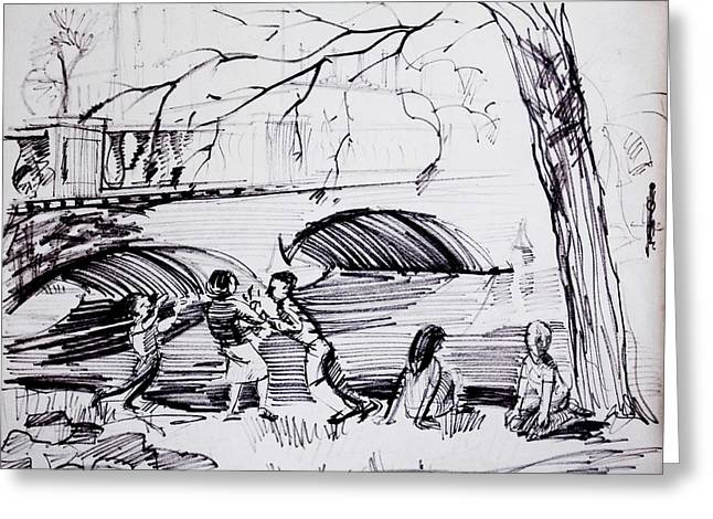 Family Walks Drawings Greeting Cards - River Walk Children Playing Greeting Card by Bill Joseph  Markowski
