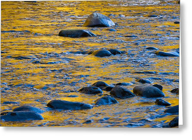 Patterned Greeting Cards - River Water and Rocks Greeting Card by Bill Brennan - Printscapes