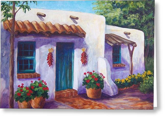 Tile Roofs Greeting Cards - Riverbend Adobe Greeting Card by Candy Mayer