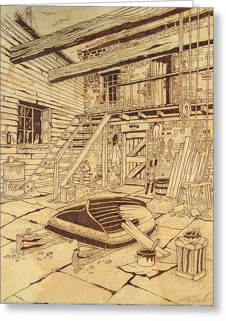 Repaired Pyrography Greeting Cards - Riverhouse boat repair Greeting Card by Rj Schiller