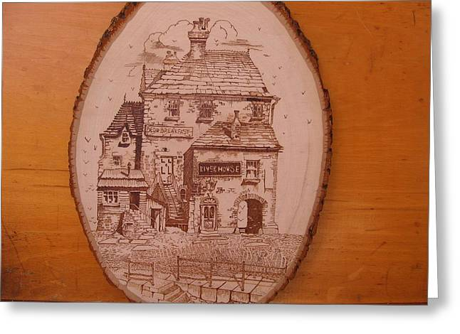 Stone House Pyrography Greeting Cards - Riverhouse Greeting Card by Rj Schiller