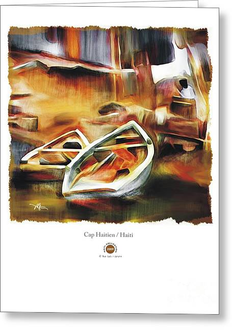 Haitian Mixed Media Greeting Cards - Riverside Greeting Card by Bob Salo