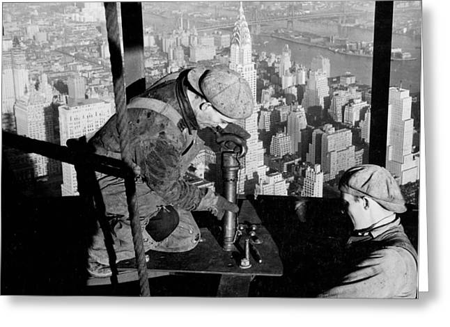 Historical Buildings Photographs Greeting Cards - Riveters on the Empire State Building Greeting Card by LW Hine
