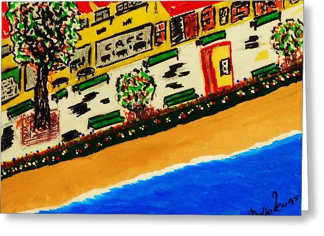Belles Mixed Media Greeting Cards - Riviera Beach Cafe Greeting Card by Adolfo hector Penas alvarado