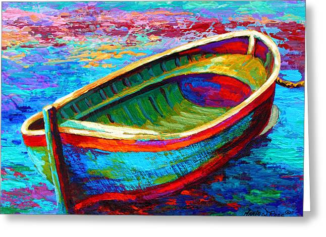 Wooden Greeting Cards - Riviera Boat I Greeting Card by Marion Rose