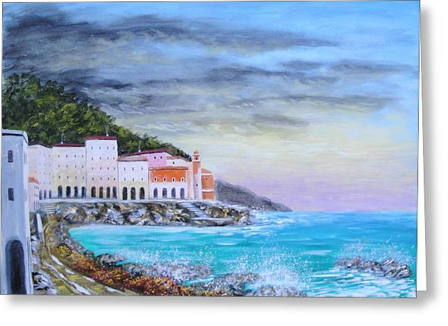 Riviera Ligure Greeting Card by Larry Cirigliano