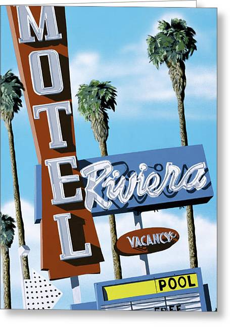 Retro Greeting Cards - Riviera Motel Greeting Card by Anthony Ross