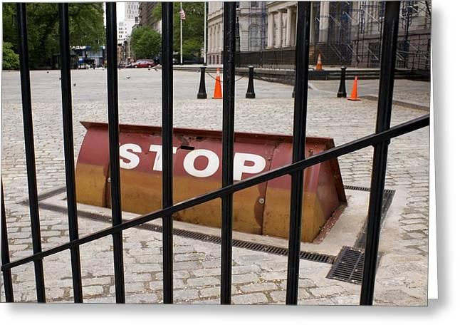 Terrorism Greeting Cards - Road Blocker At New York City Hall. Greeting Card by Mark Williamson