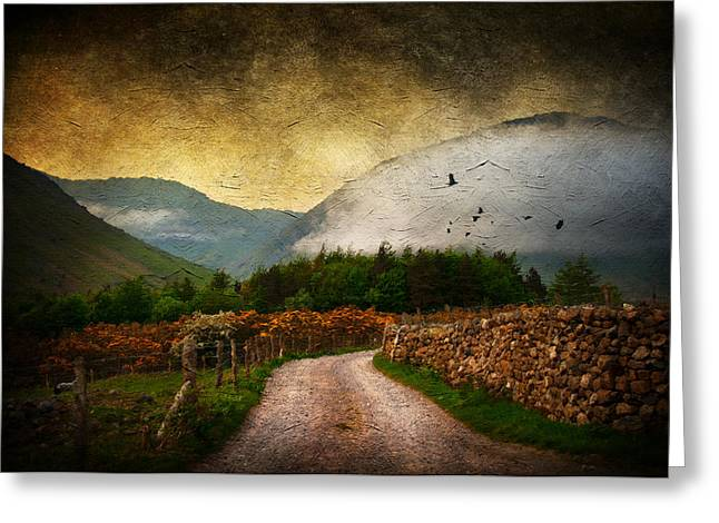 Misty Mixed Media Greeting Cards - Road by the Lake Greeting Card by Svetlana Sewell
