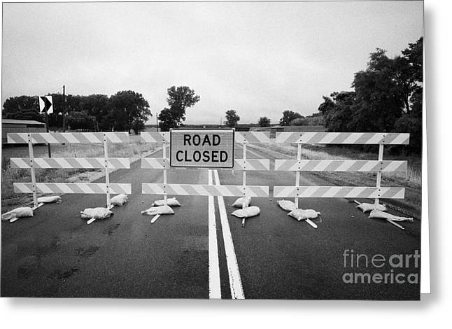 Flooding Greeting Cards - Road Closed And Highway Barrier Due To Flooding Iowa Usa United States Of America Greeting Card by Joe Fox