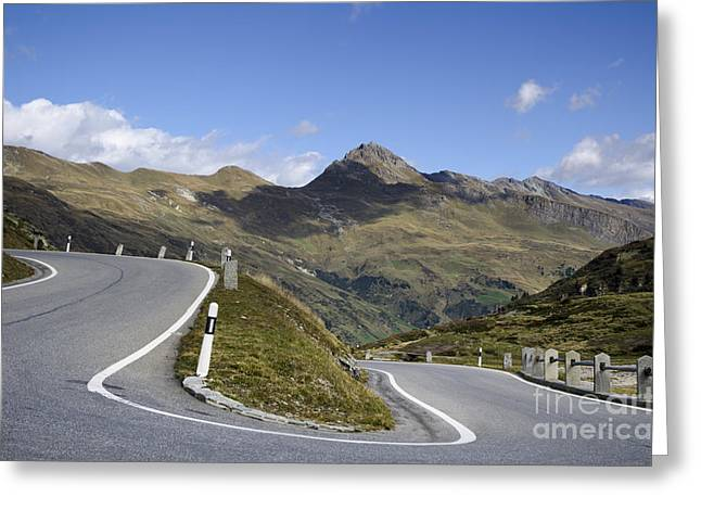 Mountain Road Greeting Cards - Road curve Greeting Card by Mats Silvan