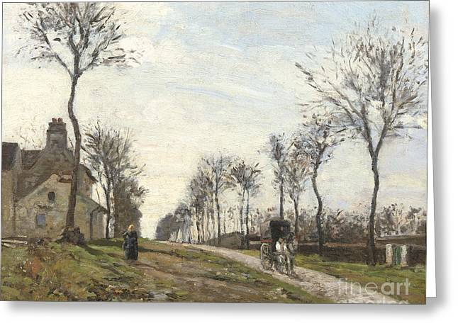 Horse And Cart Paintings Greeting Cards - Road in Louveciennes Greeting Card by Camille Pissarro
