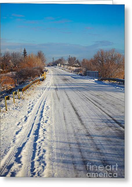 Snowy Day Greeting Cards - Road in winter Greeting Card by Gabriela Insuratelu