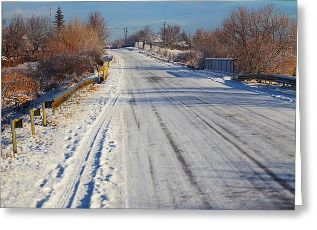 Road in winter Greeting Card by Gabriela Insuratelu