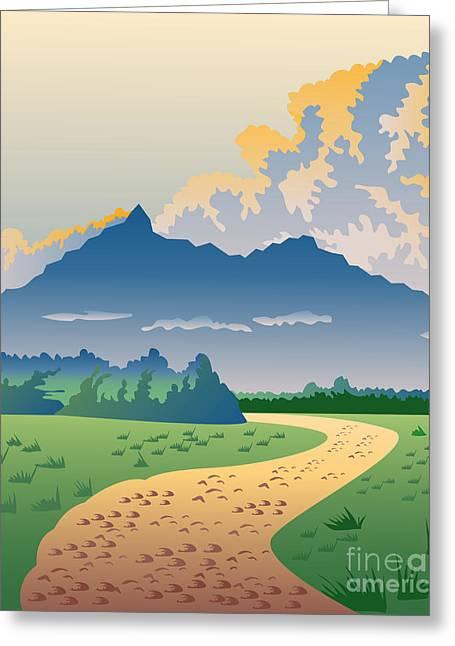 Nature Scene Digital Greeting Cards - Road Leading to Mountains Greeting Card by Aloysius Patrimonio