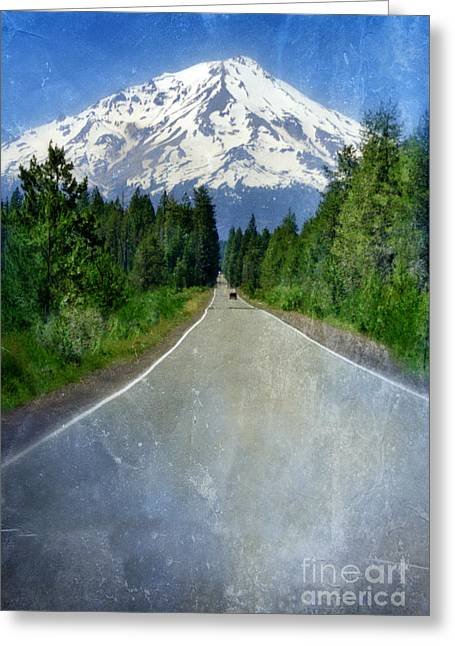 Snow-covered Landscape Greeting Cards - Road Leading to Snow Covered Mount Shasta Greeting Card by Jill Battaglia