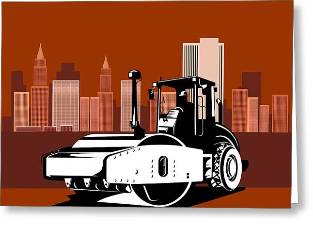 Road Roller Greeting Cards - Road Roller  Retro  Greeting Card by Aloysius Patrimonio