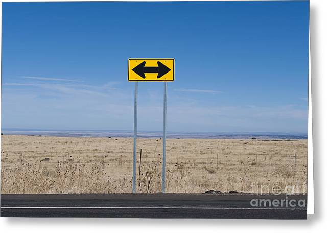 Arid Life Photographs Greeting Cards - Road Sign in the Desert Greeting Card by Dave & Les Jacobs