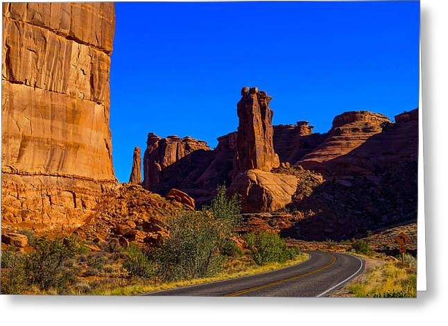 Gossip Greeting Cards - Road through Arches National Park Utah Greeting Card by Scott McGuire