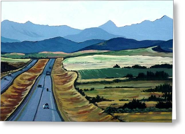 Alberta Foothills Landscape Greeting Cards - Road to Banff Greeting Card by Diane Ellingham