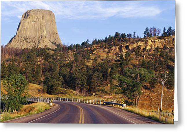 Belles Greeting Cards - Road to Devils Tower Crossing Belle Fourche River Greeting Card by Jeremy Woodhouse