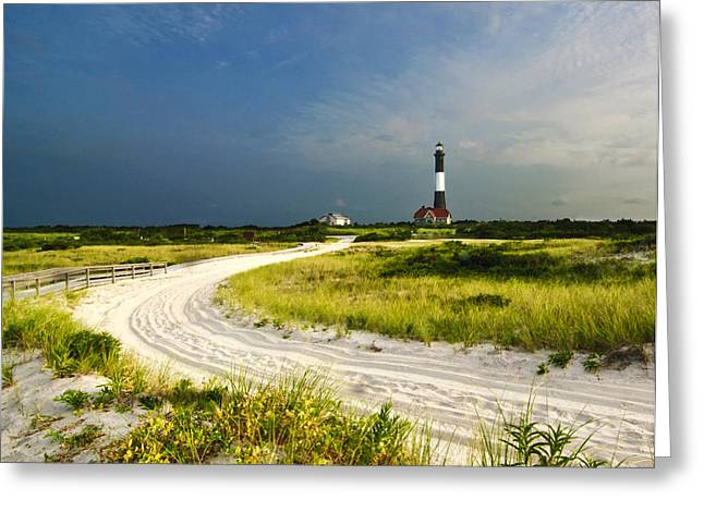 Fire Island Greeting Cards - Road to Fire Island Lighthouse Greeting Card by Vicki Jauron