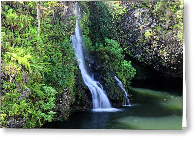 Paradise Road Greeting Cards - Road to Hana waterfall Greeting Card by Pierre Leclerc Photography