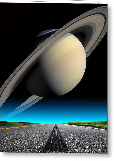 Road To Saturn Greeting Card by Larry Landolfi and Photo Researchers