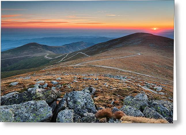 Central Balkan Greeting Cards - Road to Sunrise Greeting Card by Evgeni Dinev