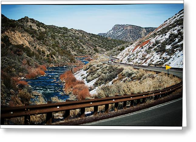 Greeting Cards - Road to Taos Village 1 Greeting Card by Lisa  Spencer