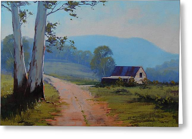 Beautiful Creek Paintings Greeting Cards - Road to the Farm Greeting Card by Graham Gercken