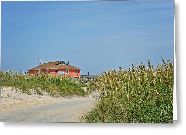 Rodanthe Greeting Cards - Road to the Rodanthe Pier Greeting Card by Kelley Nelson
